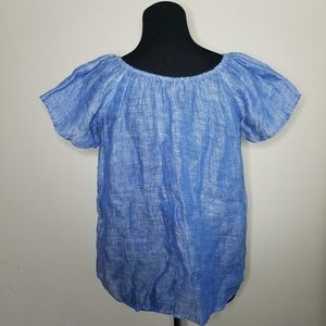 Joie Chambray Flutter Sleeve Blouse XS